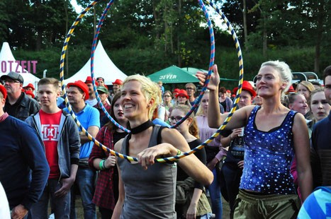 Nina with her hula hoop at a festival